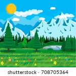 summer nature landscape with... | Shutterstock .eps vector #708705364