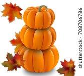 pumpkin realistic vector... | Shutterstock .eps vector #708706786