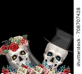 two newlywed skulls in low poly ... | Shutterstock .eps vector #708707428