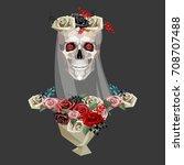 skeleton of bride with bouquet  ... | Shutterstock .eps vector #708707488
