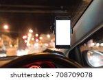 blank white screen smartphone...   Shutterstock . vector #708709078