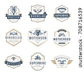 motorcycles logos templates... | Shutterstock .eps vector #708716539