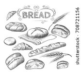 hand drawn collection of baked... | Shutterstock .eps vector #708721156