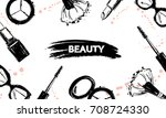beauty background with hand... | Shutterstock .eps vector #708724330