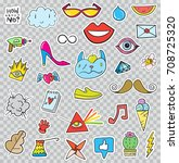 set of patches elements like... | Shutterstock . vector #708725320