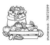harvest illustration with... | Shutterstock .eps vector #708725599