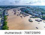 cai rang floating market  can... | Shutterstock . vector #708725890