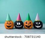 halloween glitter pumpkin jack... | Shutterstock . vector #708731140