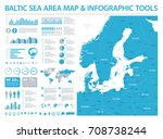 baltic sea area map   detailed... | Shutterstock .eps vector #708738244