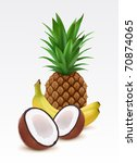fresh pineapple  bananas and... | Shutterstock .eps vector #70874065