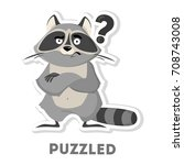 isolated puzzled raccoon with... | Shutterstock .eps vector #708743008