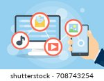 downloading files concept.... | Shutterstock .eps vector #708743254