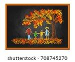 family drawing on blackboard ... | Shutterstock .eps vector #708745270