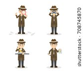 cartoon detective set.... | Shutterstock .eps vector #708745870