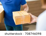 a man in a blue shirt... | Shutterstock . vector #708746098