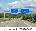 Motoway Road Signs On  Autobah...