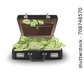 suitcase staffed by dollar... | Shutterstock .eps vector #708748570
