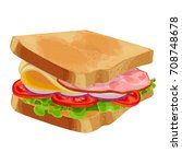toasted sandwich with green... | Shutterstock .eps vector #708748678