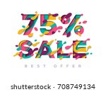 paper cut sale 75 percent off.... | Shutterstock .eps vector #708749134