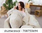 good talk. beautiful young...   Shutterstock . vector #708753694