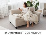 texting to boyfriend. beautiful ...   Shutterstock . vector #708753904