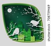 paper art carve to bird on tree ... | Shutterstock .eps vector #708759469