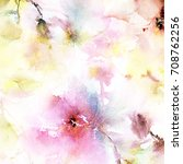 floral background. watercolor... | Shutterstock . vector #708762256