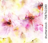floral background. watercolor... | Shutterstock . vector #708762280