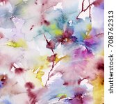 floral background. watercolor... | Shutterstock . vector #708762313