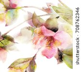 floral background. watercolor... | Shutterstock . vector #708762346
