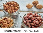 walnuts  hazelnuts and almonds... | Shutterstock . vector #708763168