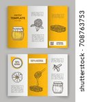hand drawn honey flyer... | Shutterstock .eps vector #708763753