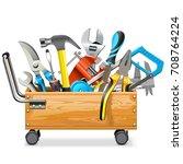 vector wooden toolbox trolley...   Shutterstock .eps vector #708764224