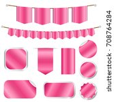 pink ribbons and labels set... | Shutterstock .eps vector #708764284