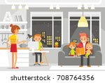 big family at the home | Shutterstock .eps vector #708764356