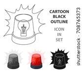 emergency rotating beacon light ... | Shutterstock .eps vector #708765373