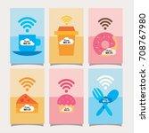 free wifi wireless network | Shutterstock .eps vector #708767980