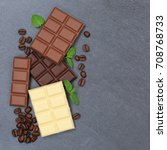 chocolate chocolates bar food... | Shutterstock . vector #708768733