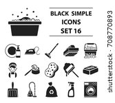 cleaning set icons in black... | Shutterstock .eps vector #708770893