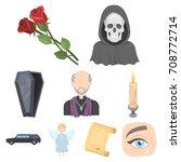 funeral ceremony  cemetery ...   Shutterstock .eps vector #708772714
