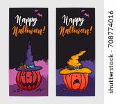 two colorful banners with funny ... | Shutterstock .eps vector #708774016