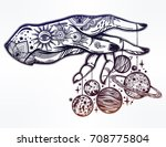 flash astronomy. inked human... | Shutterstock .eps vector #708775804