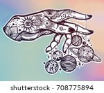 flash astronomy. inked human... | Shutterstock .eps vector #708775894