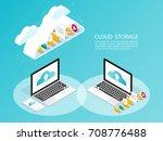 isometric computer smartphone... | Shutterstock .eps vector #708776488
