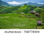 pa pong piang rice terraces ...   Shutterstock . vector #708778504