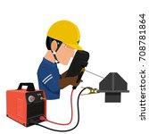 welder is working on... | Shutterstock .eps vector #708781864