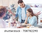 concerned father getting... | Shutterstock . vector #708782290