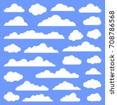 set of clouds on a blue... | Shutterstock .eps vector #708786568