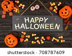 Happy halloween black sign with ...