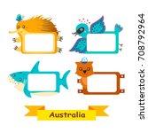 cute animal set. exotic... | Shutterstock .eps vector #708792964